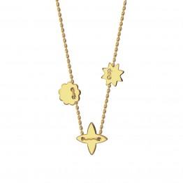 Naszyjnik Gwiazdka, lilijka, kwiatek ze złota 9 karat