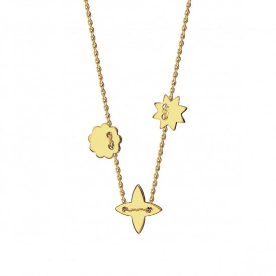 Naszyjnik gwiazdka lilijka kwiatek złoto 9ky