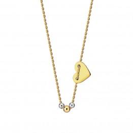 Naszyjnik serce, kuleczki ze złota 14ky