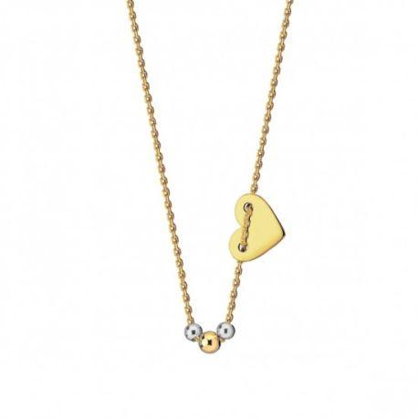 Naszyjnik serce, kuleczki ze złota 9ky