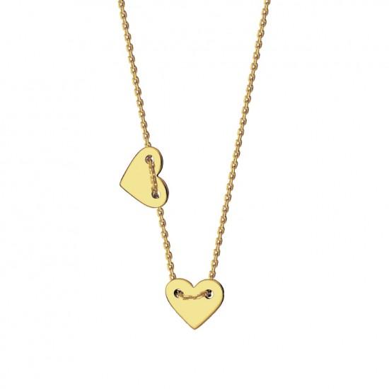 Naszyjnik z dwoma sercami ze złota 14 karat