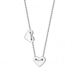 Naszyjnik z dwoma sercami ze srebra 925