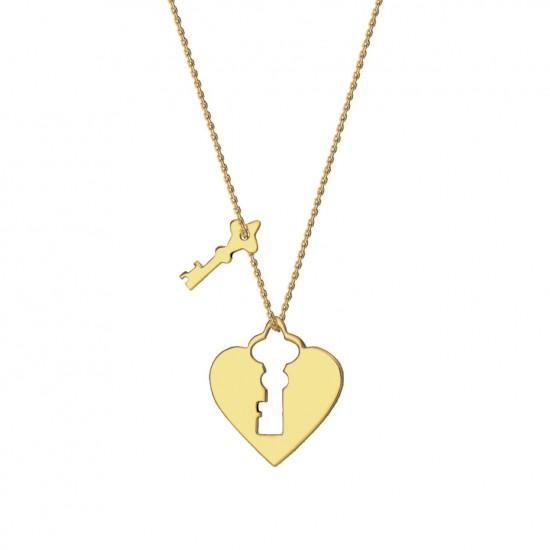 Naszyjnik serce kłódka kluczyk złoto 9ky