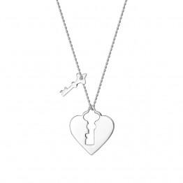 Naszyjnik kłódka serce z kluczykiem ze srebra 925