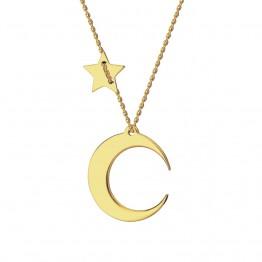 Naszyjnik księżyc z gwiazdką ze złota 14 karat