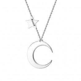 Naszyjnik księżyc z gwiazdką ze Srebra
