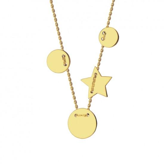 Naszyjnik klasyczne kółka ze złota 9 karat