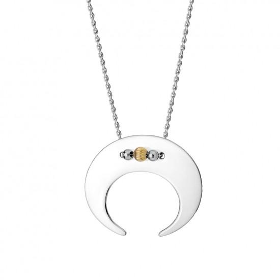 Naszyjnik księżyc ze srebra 925 z kuleczkami