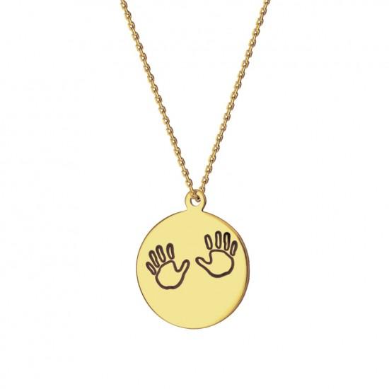 Naszyjnik kółko z dłońmi dziecka ze złota 9ky