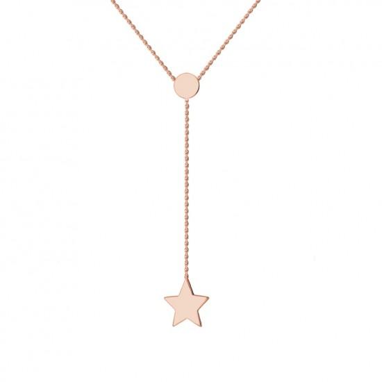 Naszyjnik z gwiazdką na łańcuszku z różowego złota 9 Karat
