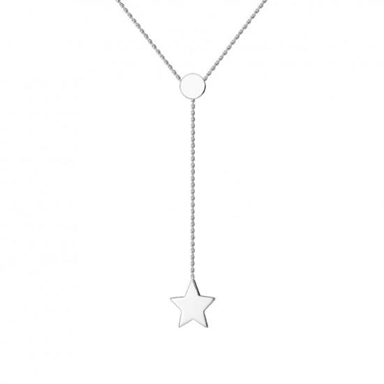 Naszyjnik z gwiazdką na łańcuszku z białego złota 9 Karat