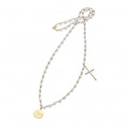 Naszyjnik krzyż koło kamień holwit luxury