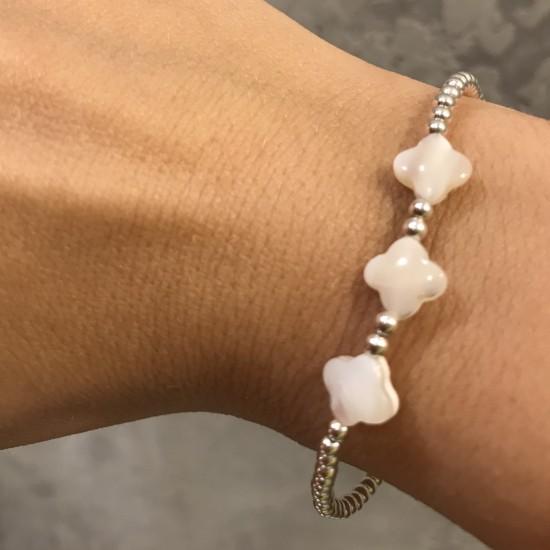 Bransoletka ze srebra z kwiatkami z masy perłowej