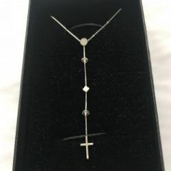 Naszyjnik krzyż na łańcuszku BOHO