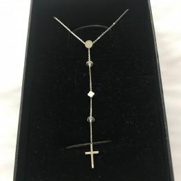 Naszyjnik z mini krzyżem na łańcuszku z kamieniami srebro 925