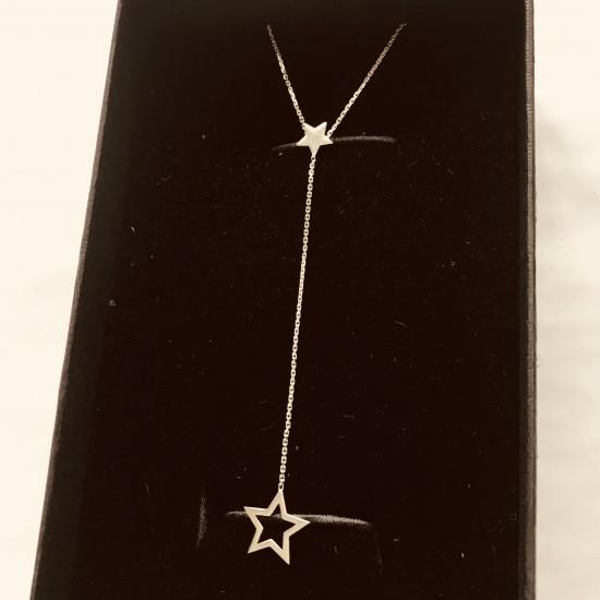Naszyjnik z ażurową Gwiazdką na łańcuszku ze złota 9k