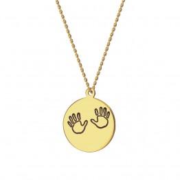 Naszyjnik kółko z dłońmi dziecka ze złota 9 karat