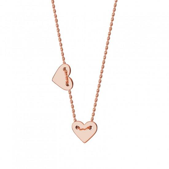 Naszyjnik z dwoma sercami 9 karat różowe