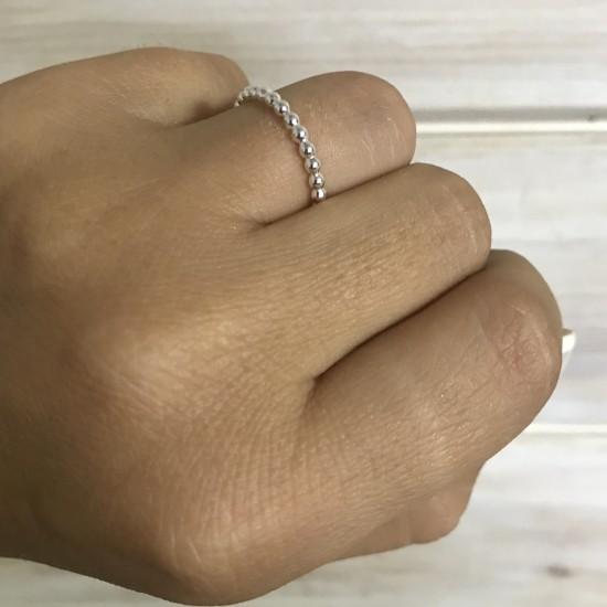 Obrączka z drucika z pełnych kuleczek 2 mm
