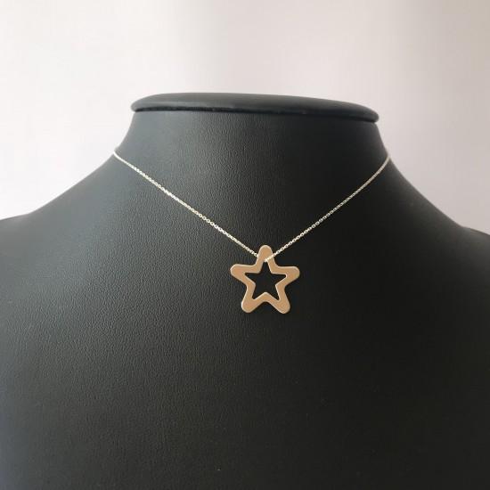 Naszyjnik duża ażurowa gwiazda srebro 925