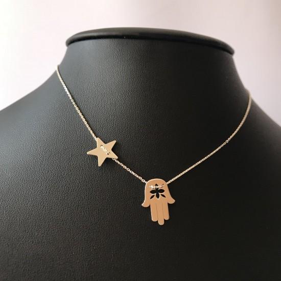 Naszyjnik ręka Fatimy i gwiazda srebro 925