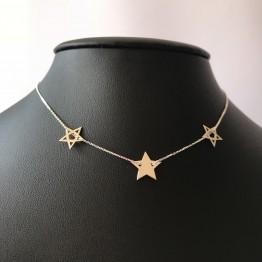 Naszyjnik trzy gwiazdki srebro 925