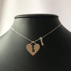 Naszyjnik serce kłódka kluczyk ażur