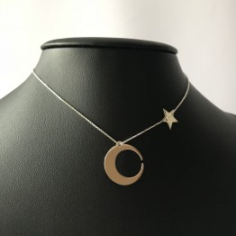 Naszyjnik księżyc z gwiazdką ze srebra 925