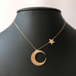 Naszyjnik księżyc z gwiazdką ze złota 14ky