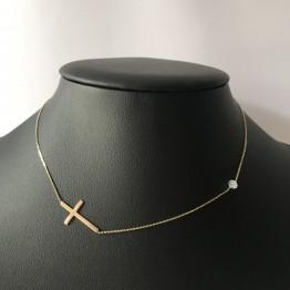 Naszyjnik Boho krzyż i kamień tęcza ze złota 9ky