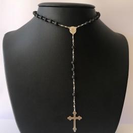 Naszyjnik różaniec Lux z czarnymi kamieniami lawa