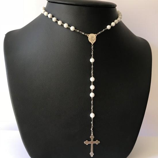 Naszyjnik różaniec Lux z białymi kamieniami