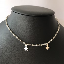 Naszyjnik CHOKER na srebrnym druciku Two star