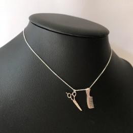 Naszyjnik Nożyczki i Grzebień srebro 925