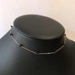 Choker BOHO kamienie spiner 3mm złoto 9ky