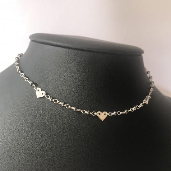 Naszyjnik CHOKER na srebrnym druciku trzy serca 925