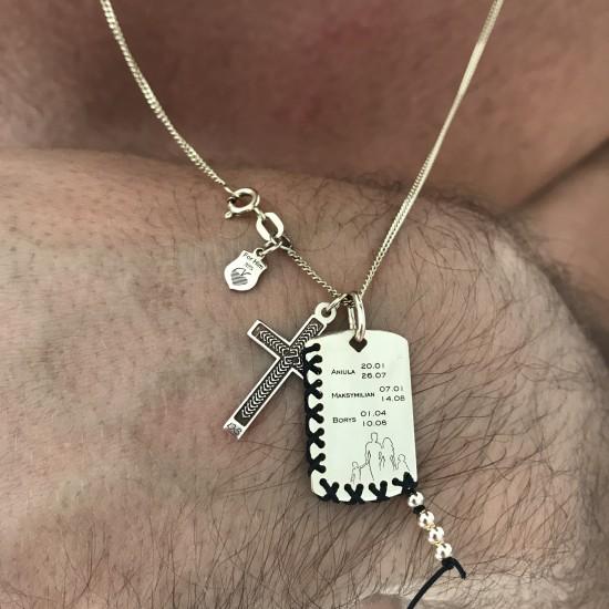 Naszyjnik nieśmiertelnik familly cross 9ky