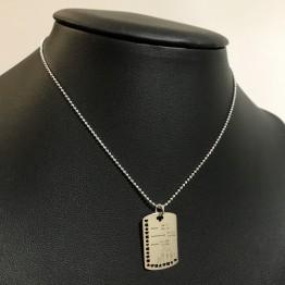 Nieśmiertelnik damski grawer srebro 925