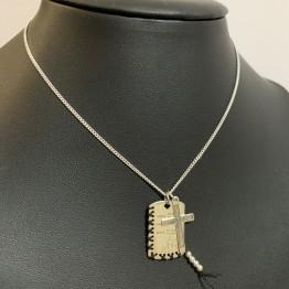 Naszyjnik nieśmiertelnik familly cross 925 silver