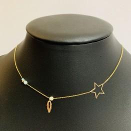 Naszyjnik z ażurową gwiazdką, piórkiem i kamieniami złoto 9ky