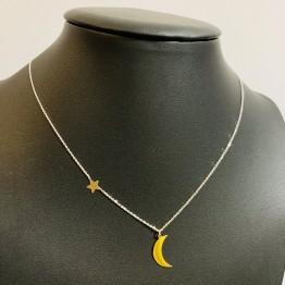 Naszyjnik mini gwiazdka z małym księżycem srebro ze złotem