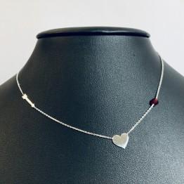 Naszyjnik serce strzała czerwony kamień srebro 925
