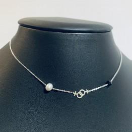 Choker znak kobiety i mężczyzny perła&onyx srebro 925