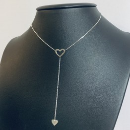 Naszyjnik ażurowe serce z sercem na łańcuszku srebro 925