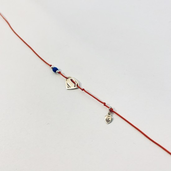 Bransoletka czerwona nitka Superwoman serbro 925