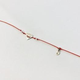 Bransoletka czerwona nitka Diament srebro 925