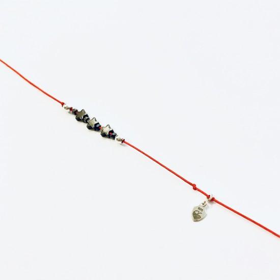 Bransoletka czerwona nitka Gwizdki z kamienia srebro 925