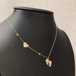Naszyjnik stópki serce kamienie złot 9ky