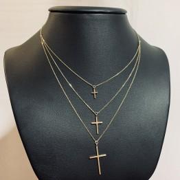 Naszyjnik typu kolia z krzyżykami złoto 9 ky