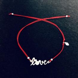 Bransoletka czerwona podwójna nitka LOVE z myszką miki srebro 925